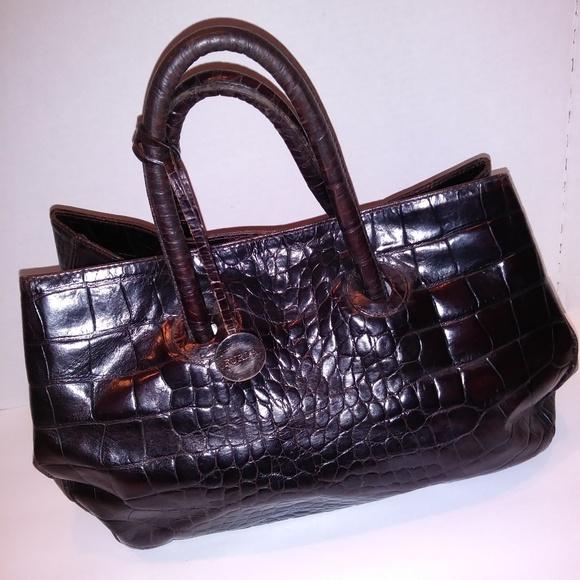 Furla Handbags - Furla Vintage Crocodile Print Brown Leather Bag